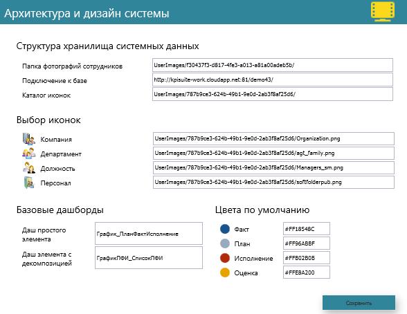 Настройка элементов визуализации и базовых путей доступа к системной информации