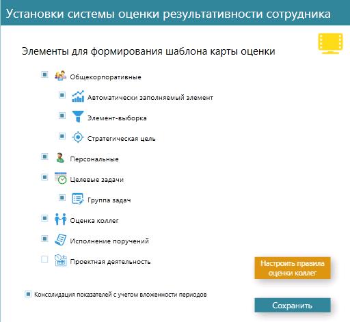 Интерфейс настройки системы оценки персонала