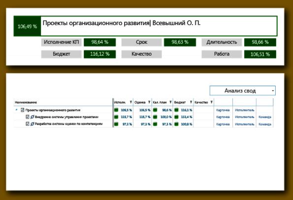 Сводная информация о реализации проектов