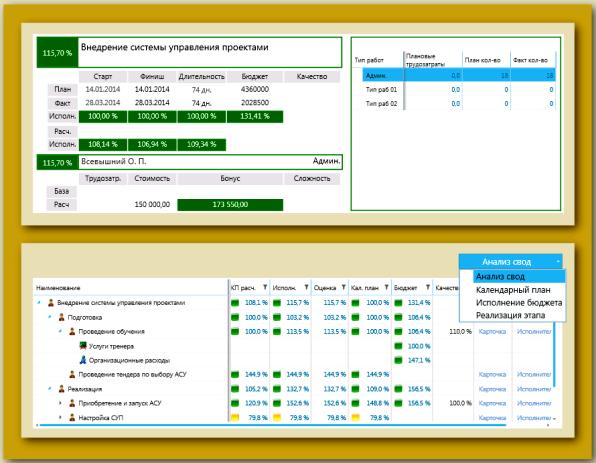 Пример сводной карты мониторинга реализации проекта